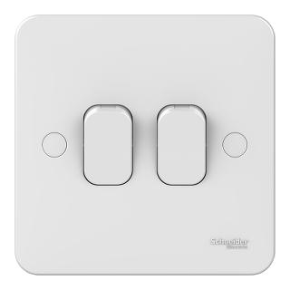 LWM 2 gang 2 way 10AX plate switch