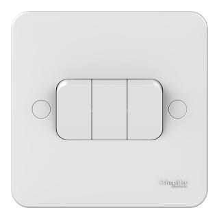 LWM 3 gang 2 way 10AX plate switch
