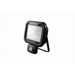 REMY 10W LED flood light with PIR, IP65, Black, 4000K, c/w junction box
