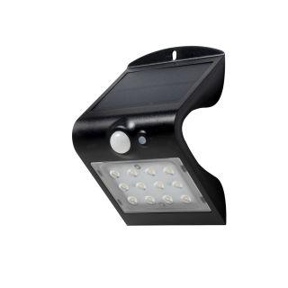 SOL 1.5W Solar LED Wall light with PIR IP65 Black 4000K