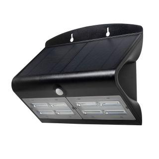 SOL 6.8W Solar LED Wall light with PIR IP65 Black 4000K