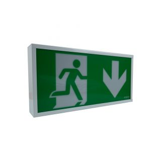 EXIT BOX 3W LED maintained, IP20, 390mm, White C/w Down legend
