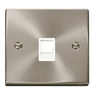 Click Deco 1 Gang Rj11 Outlet White Insert Satin Chome