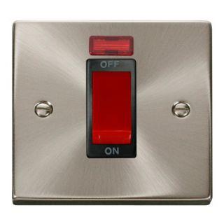 Click Deco 45 Amp 1 Gang Cooker Switch Neon Black Insert Satin Chrome