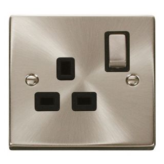Click Deco 13 Amp 1 Gang Ingot Switch Socket Black Insert Satin Chrome
