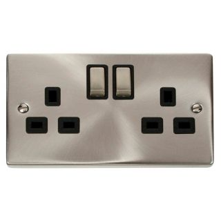 Click Deco 13 Amp 2 Gang Ingot Switched Socket Black Inscert Satin Chrome